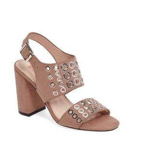 TOPSHOP Nadia Rivet Block Heel Sandal